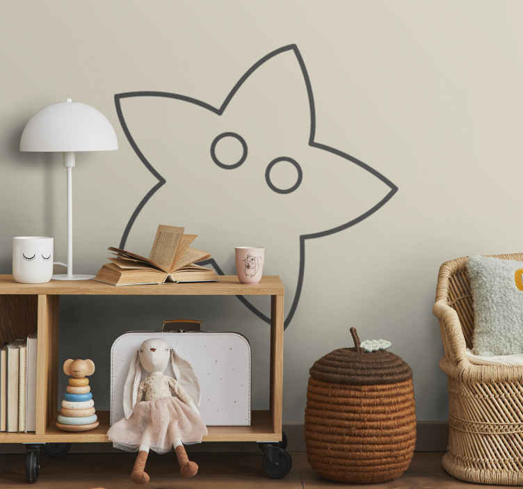 TenStickers. Kids Star Wall Decal. A playful and simple outline illustration of a friendly star with eyes. A creative and original decal from our collection of star wall stickers.