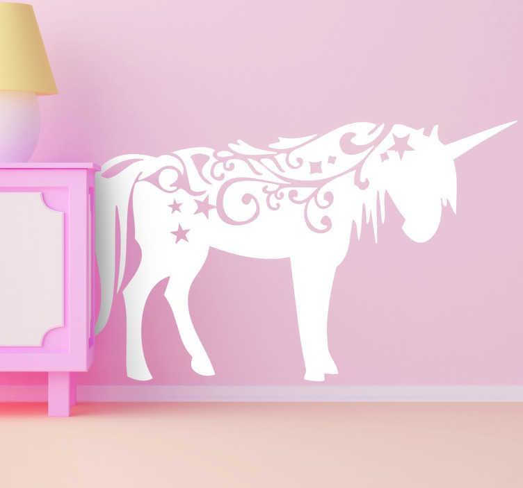 TenStickers. Unicorn decal pentru copii. Copii decal cu unicorn de perete - decal unicorn este un autocolant fabulos pentru dormitor, care adaugă frumusețea în camera lor și își va umple inima cu bucurie.