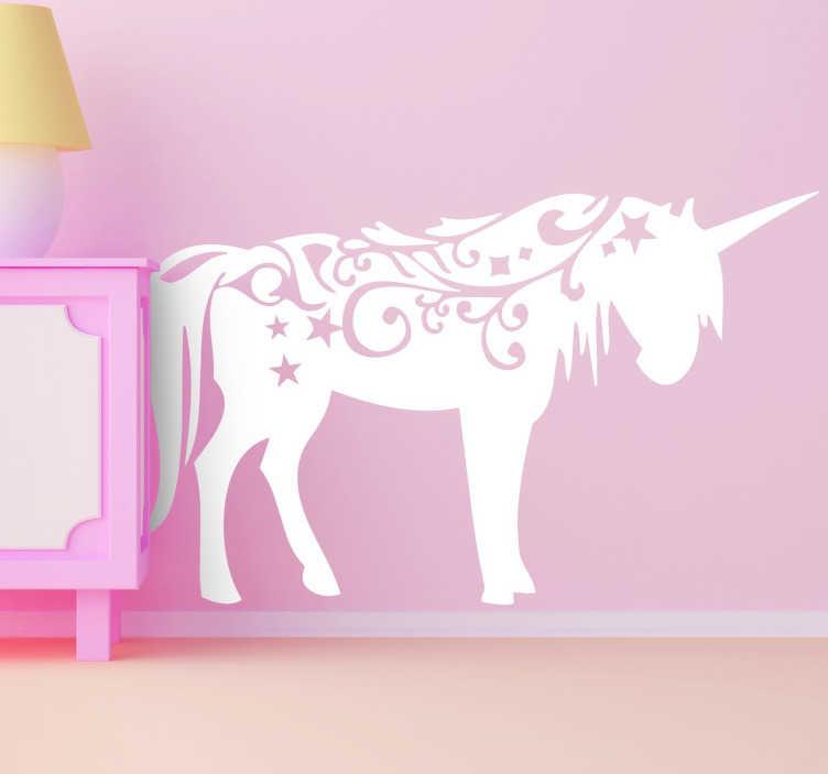 TenStickers. 아이들을위한 유니콘 벽 데칼. Kids unicorn wall stickers - 유니콘 데칼은 침실에 아름다움을 더하고 기쁨으로 마음을 채울 수있는 멋진 소녀의 침실 스티커입니다.