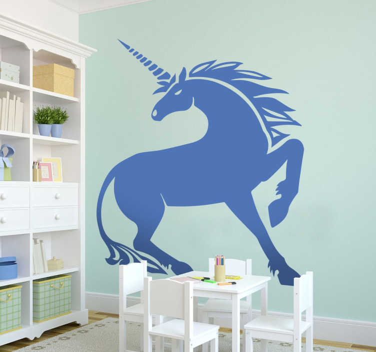 TenVinilo. Vinilo decorativo dibujo de unicornio. Vinilos para cualquier tipo de estancia de casa con la ilustración de un animal mitológico.