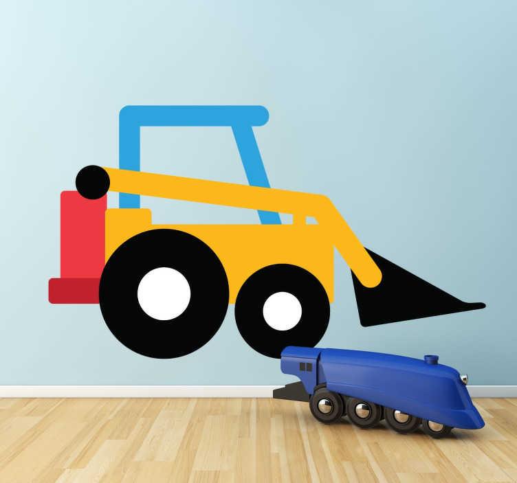TenStickers. Spielzeugbagger Aufkleber. Wandaufkleber für das Kinderzimmer. Machen Sie Ihrem Kind eine Freude und dekorieren Sie das Kinderzimmer mit diesem farbenfrohen Bagger.