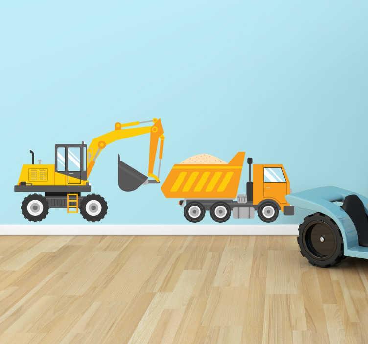 TenStickers. Vinil decorativo camião e escavadora. Conjunto de adesivos com dois veículos de obras, um camião e uma escavadora.
