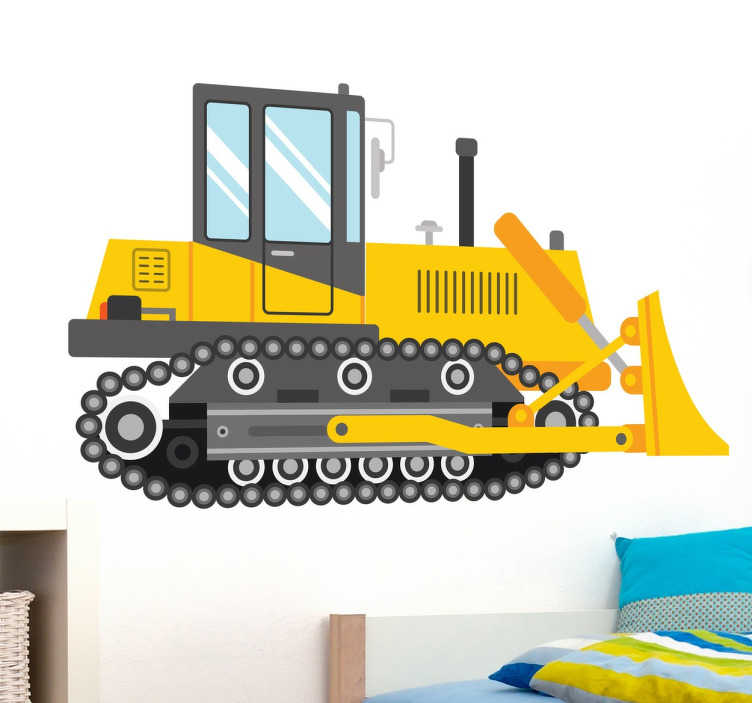 TenStickers. Naklejka koparka. Profesjonalny sprzęt budowlany w pokoju dziecięcym. Znakomita, żółta koparka na ścianę do pomieszczeń młodych fanów wszelkich maszyn.