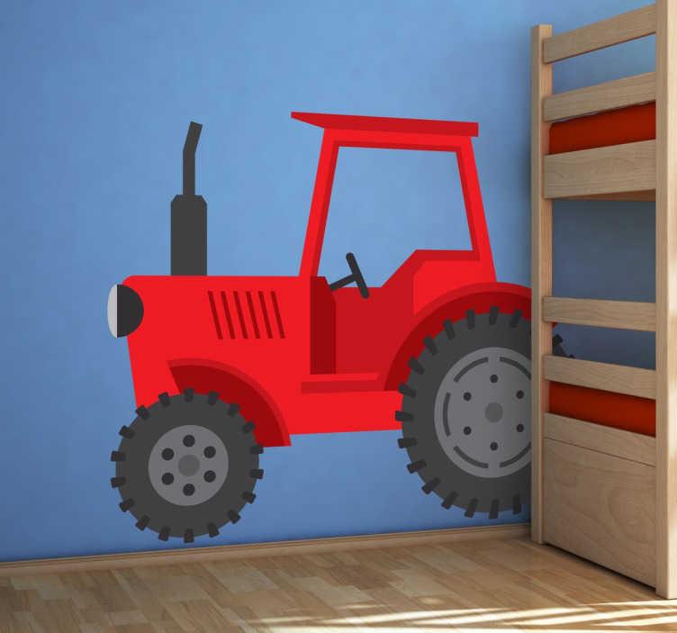 Sticker tracteur ferme rouge