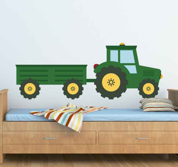 Sticker tracteur remorque vert