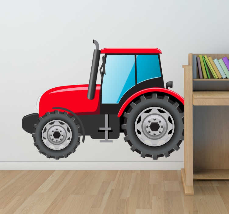 TenStickers. Otroci rdeči trak stojalo za traktorje. Originalni dizajn iz naše zbirke nalepk stenskih trakov za okrasitev katere koli sobe doma! Idealen za majhne. Enostavno nanesti in ne pušča ostankov po odstranitvi.