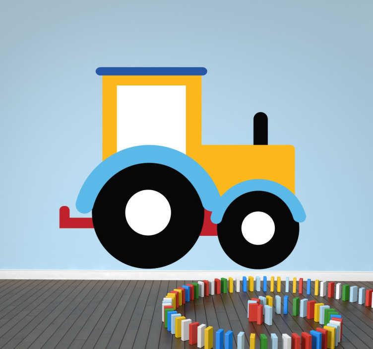 TenStickers. Speelvol tractor kleuren sticker. Leuke kinderkamer sticker van een kleurrijke tractor! Speelse en leuke muursticker om de kamer vrolijker en kleurrijker te maken!