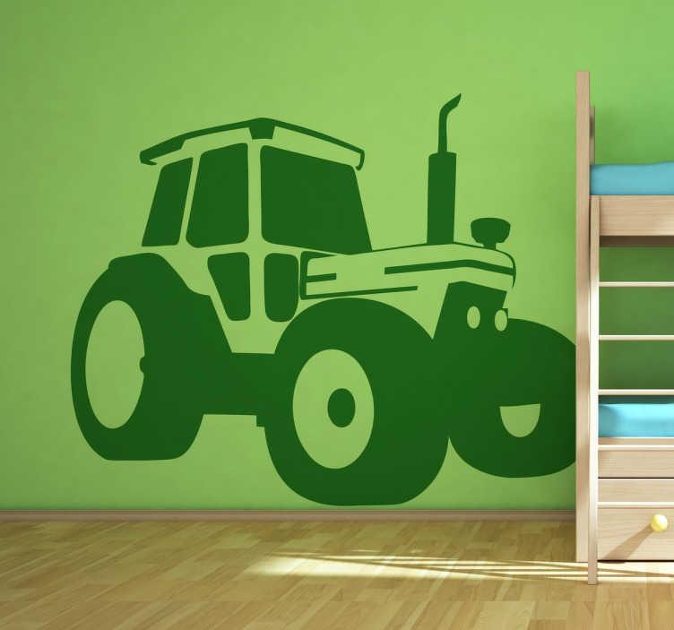 TenVinilo. Vinilo decorativo tractor dibujo. Adhesivo para decoración con la ilustración sintetizada de un tractor.
