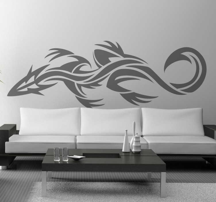 TenStickers. Vinil decorativo tatuagem lagartixa. Autocolantes decorativo com desenho de um réptil com estética tribal perfeitos para personalizar as paredes da tua casa.