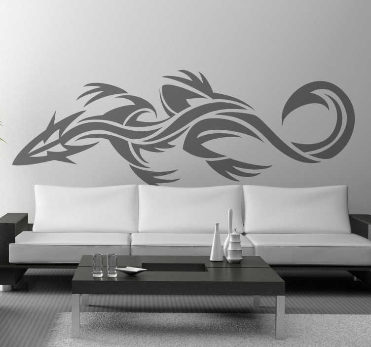 TenStickers. 蜥蜴纹身部落贴纸家居墙贴纸. 用这款蜥蜴贴纸装饰您家的墙壁,采用非常部落的纹身风格,非常适合您的装饰。交货快。
