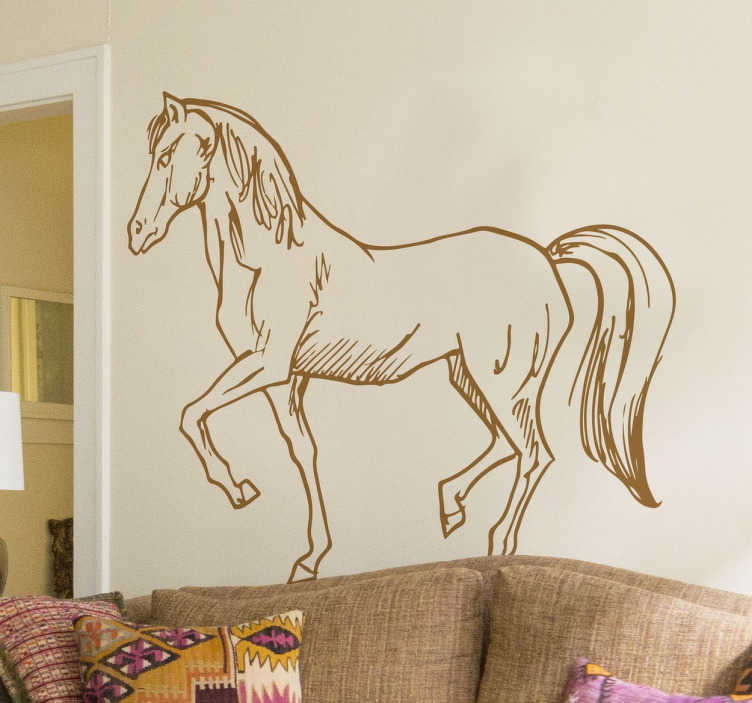 TenStickers. Wzór na ścianę rysunek konia. Fantastyczna dekoracja ścienna przedstawiająca kontury konia. Sprawdź nasze oryginalne naklejki na ścianę zwierzęta w postaci ilustracji.