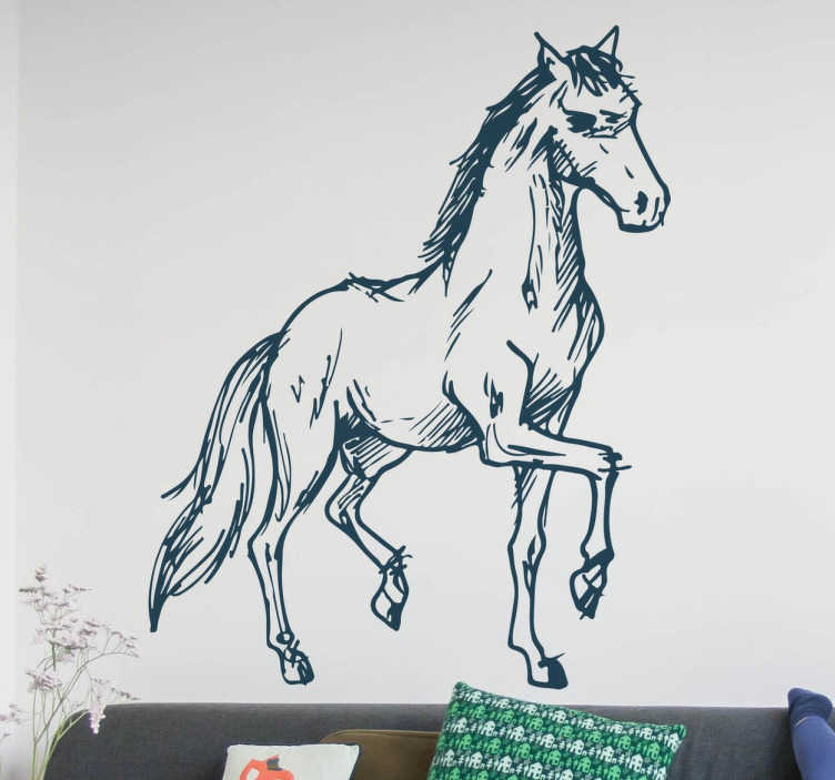 TenStickers. Naklejka koń. Naklejka do domowego wnętrza przedstawiajaca pięknie prezentującego się konia w marszu. Obrazek imituje rysunek wykonany ołówkiem. Dodaje do ciekawego i orginalnego efektu.