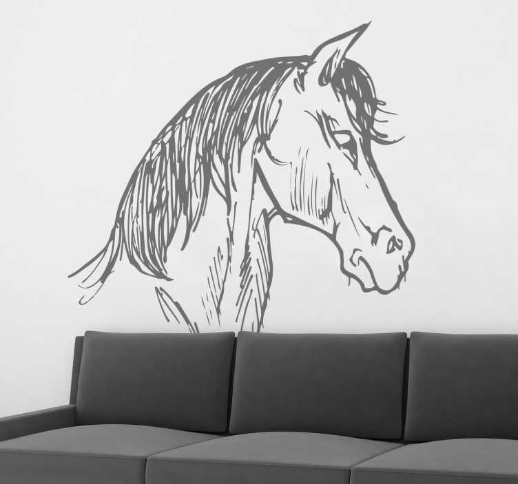 Vinilo decorativo boceto cabeza caballo