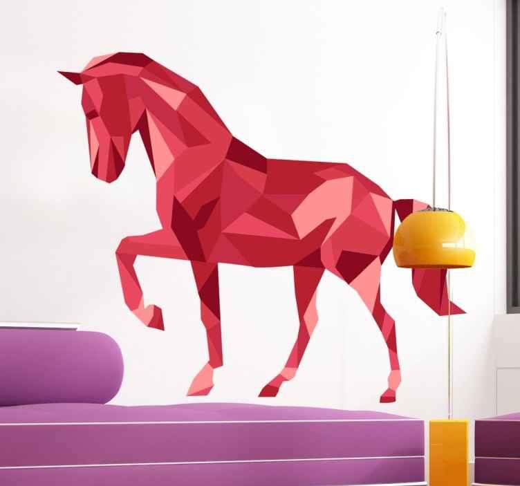 TenVinilo. Vinilo decorativo caballo poligonal rojo. Vinilos de caballos ideales para decorar las paredes de los aficionados al mundo de la hípica.