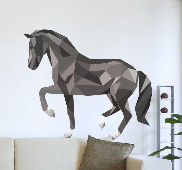 TENSTICKERS. 幾何学的な馬壁デカール. あなたの家に新しい外観を与えるための幾何学的な馬のデカールを示す創造的なデザイン。馬のステッカーのコレクションからの美しい壁アートデカール。