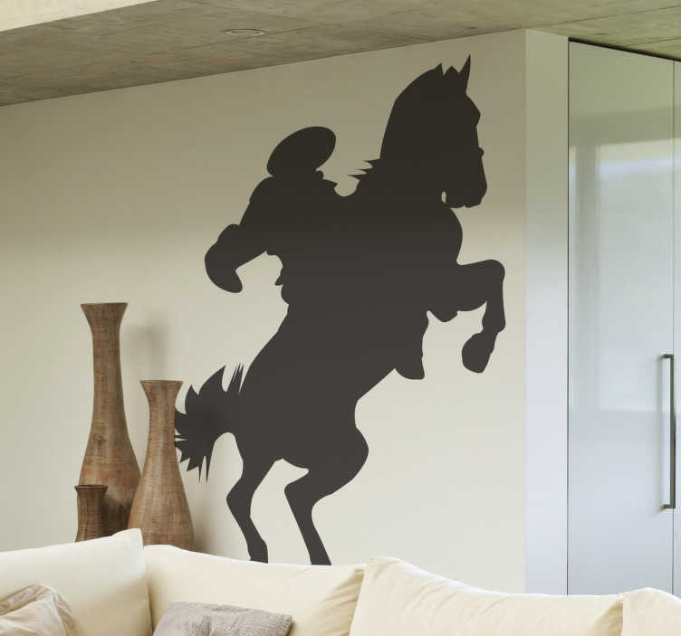 TenStickers. Horse Rider Silhouette Sticker. A brilliant silhouette design illustrating a horse rider! If you love horses or horse riding then this horse wall art decal is for you!