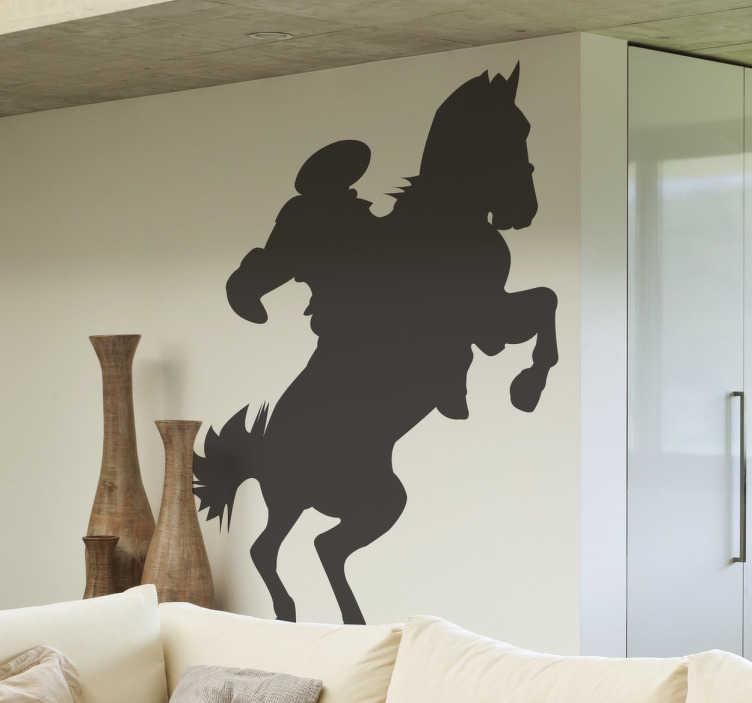 TenStickers. Paard met ruiter sticker. Je ziet een op hol geslagen paard met een ruiter bovenop! Beplak deze sticker op muren, ramen, deuren, kasten etc!