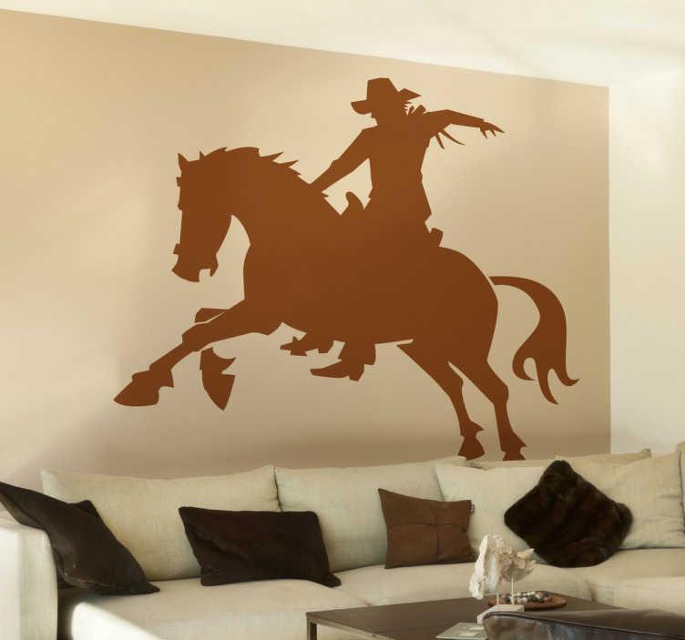 TenStickers. Vinil decorativo silhueta de cowboy. Vinil autocolante decorativo com desenho de cavalo a galope com o seu dono pensado para um público apaixonado pelo mundo do hipismo.