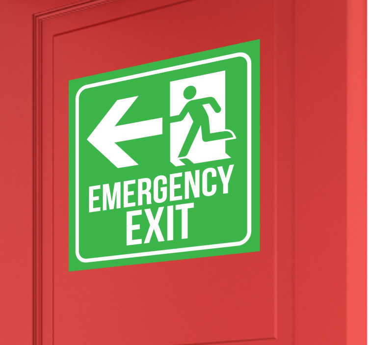 TenStickers. Emergency Exit Sign Sticker. Emergency Exit Sign Sticker - A fantastic emergency exit sticker to place in any building to make sure that in case of a fire everyone knows where the emergency exit is.