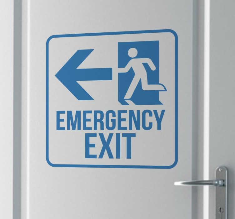 TenStickers. Notausgang Schild Sticker. Aufkleber in der Form eines Hinweisschildes. Platzieren Sie diesen Sticker gut sichtbar an Türen und Wänden und weisen auf einen Notausgang hin.