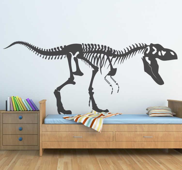 TenStickers. Vinil decorativo esqueleto T-Rex. Adesivos de parede para o público que gosta de paleontologia.