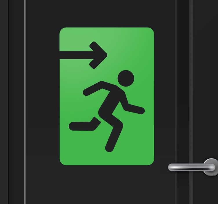 TenStickers. Exit uitgang sticker. Beplak in jouw bedrijf of onderneming deze sticker en laat zien waar de uitgang is in uw gebouw! Opvallende sticker verkrijgbaar in meerdere kleuren!