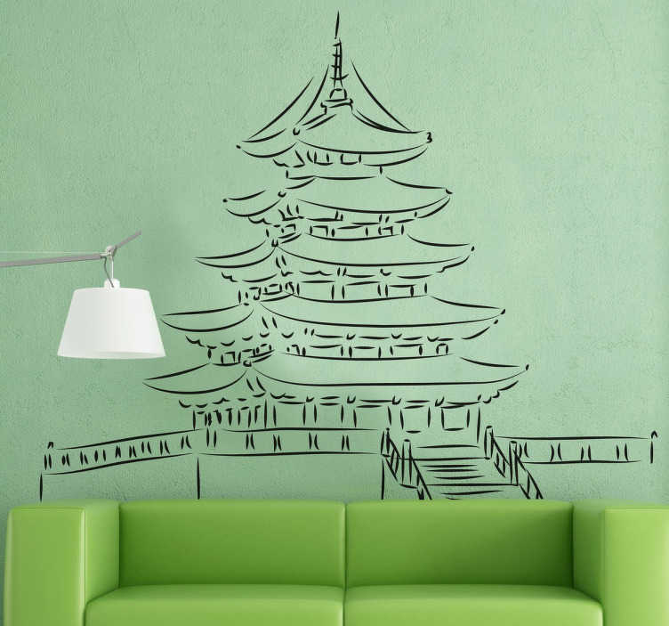 TenStickers. Pagoda Tower Sticker. Wall decal with a detailed drawing of a Pagoda; a traditional Japanese style of building. Easy to apply and remove. Zero residue upon removal.