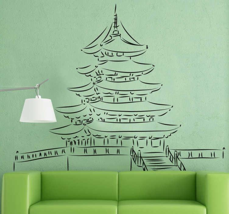 Tenstickers. Pagodan piirustusseinä tarra. Tämä perinteisen pagodin alkuperäinen muotoilu tuo nämä majesteettiset rakennukset kotiisi. Tämä seinä tarra on tehty yksinkertaisesta piirustuksesta pagodista.