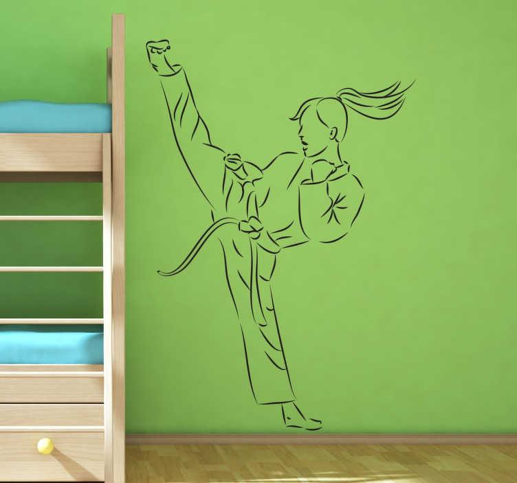 TENSTICKERS. 女の子の空手のキックステッカー. 青少年の部屋を飾るための素晴らしいスポーツステッカー。壁のステッカーは空手のキックをしている女の子の絵を示しています。壁のデカール空手は、特に空手、柔道、または他の戦闘スポーツを見たり練習したりするのが好きな人のためのものです。