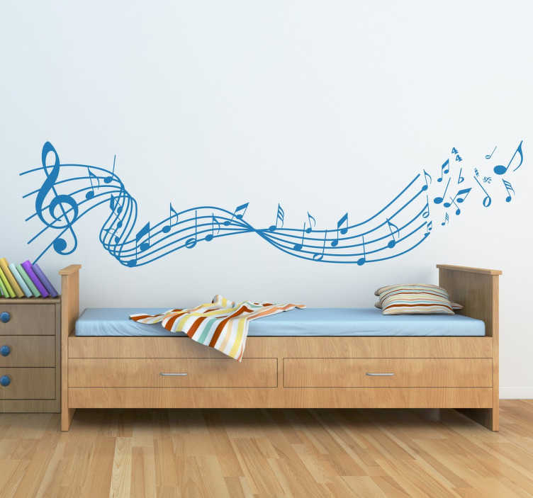 TenStickers. Flying Musical Notes Sticker. Original sticker designed for music enthusiasts, with a range of musical notes that fly over the melody.