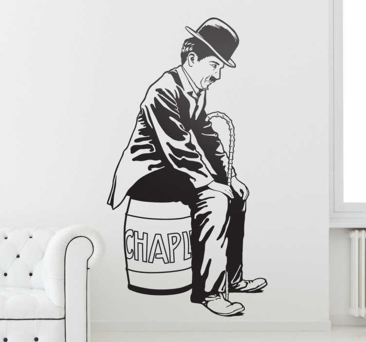 TenStickers. Sticker portrait Charlie Chaplin. Décorez les murs de votre habitation avec ce sticker original de Charlie Chaplin, idéal pour les amateurs de cinéma.