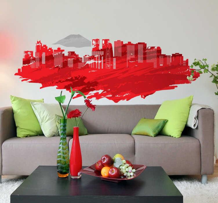 TenStickers. Naklejka Tokio. Naklejka na ścianę przedstawia widok miasta Tokio na tle nieba, typowo wielkomiejski widok, setki wieżowców.