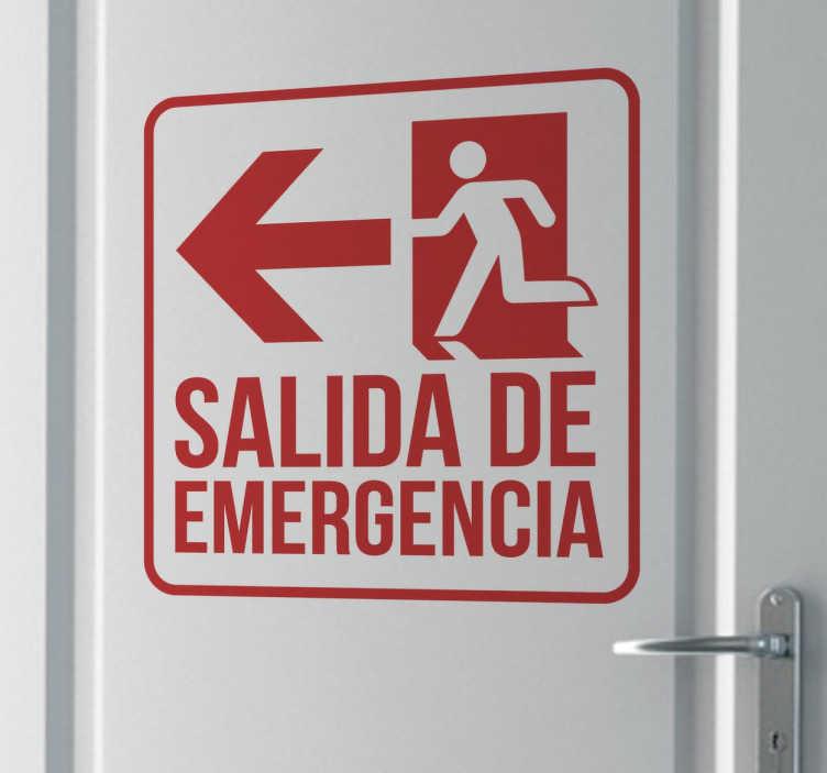 TenVinilo. Vinilo señalización salida de emergencia. Vinilos indicativos con el que señalizarás claramente dónde se encuentra la salida de emergencia.