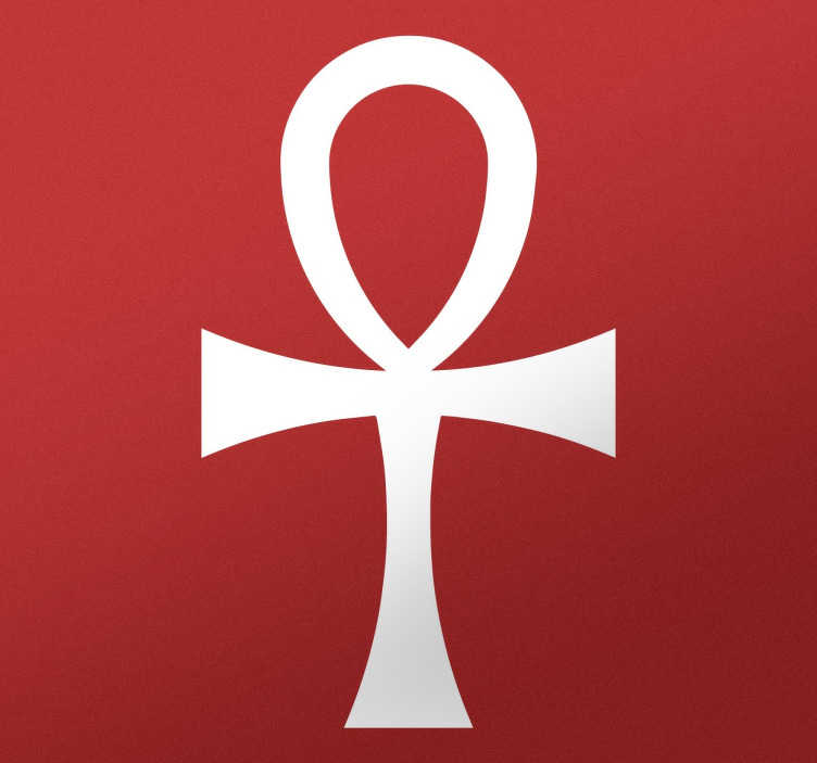 TenStickers. Simbol egypt cross ansée dnevna soba stenski dekor. Okrasite svojo notranjost s to izvirno nalepko, ki predstavlja ansée križ, starodavni simbol egipatskih bogov iz antike.