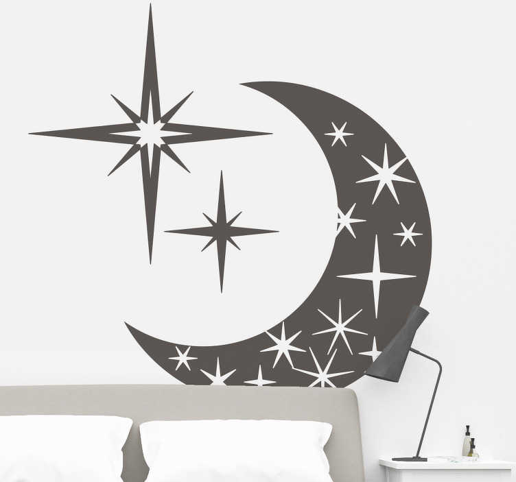 TenVinilo. Vinilo luna y estrellas. Vinilo decorativo con el dibujo de la luna rodeada de una multitud de estrellas de distintos tamaños y cantidad de puntas. Un vinilo ideal para el dormitorio de tu hogar.