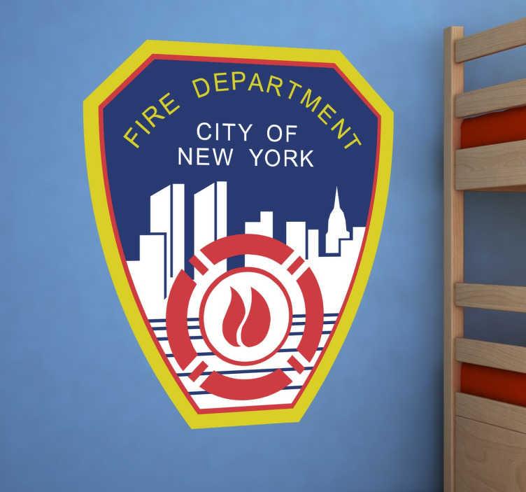 TenStickers. Sticker logo fire department. Sticker original représentant le logo des pompiers de New York. Un autocollant idéal pour personnaliser votre intérieur en toute simplicité.