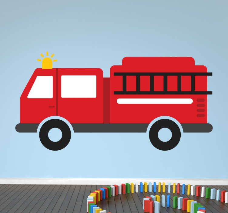 TenStickers. 화재 엔진 벽 스티커. 아이들의 소방차 스티커는 아이들의 침실에 색과 장식을주기 위해 고안되었습니다. 재미 있고 쾌활한 분위기를 만드십시오! 나는