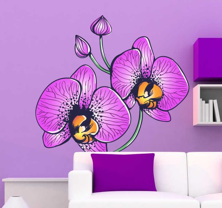 TenStickers. Naklejki orchidea. Piękna dekoracja ścienna przedstawiająca różowe kwiaty orchidei. Naklejka doda koloru i ożywi każde puste miejsce w domu.