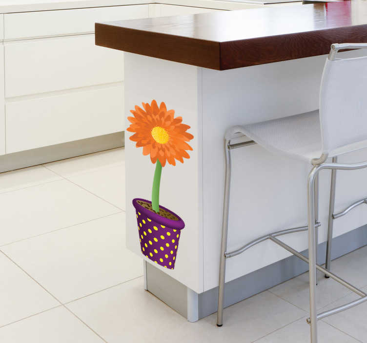 TenStickers. Potted Sunflower Wall Sticker. Kitchen Stickers - Illustration of a sunflower planted in a pot. Ideal for customising spaces like the kitchen.