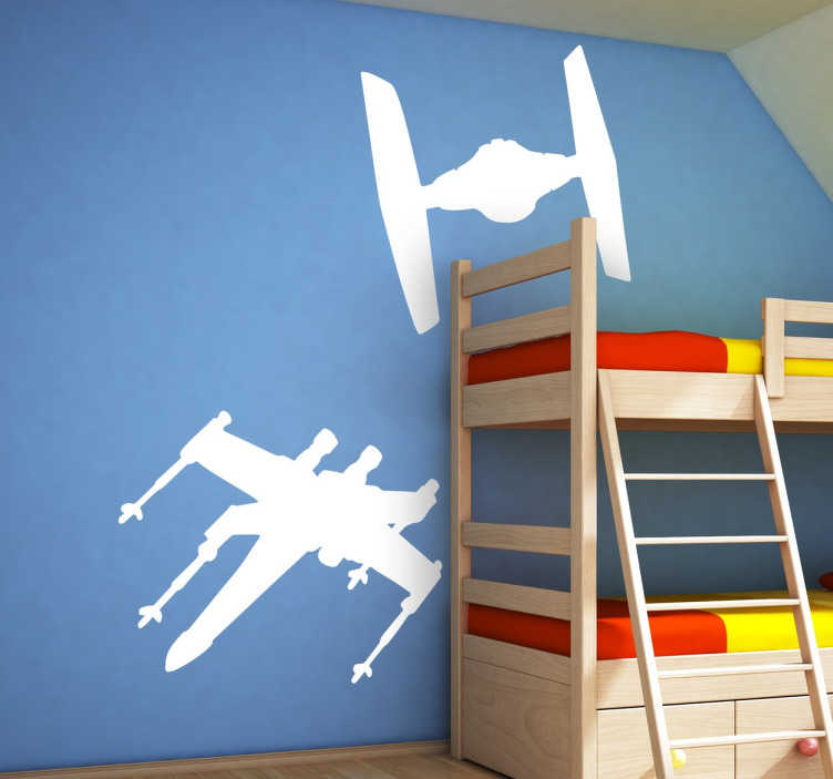 TenStickers. Star Wars Spaceships Wall Sticker. Fan of Star Wars? If yes, then this set of two spaceship stickers from Star Wars is perfect to decorate your children's bedroom!