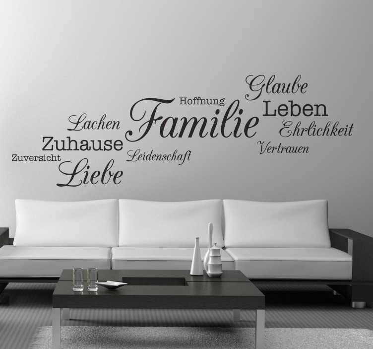 TenStickers. Familie Wandtattoo. Dekoratives Wandtattoo über die Familie. Gestalten Sie das Wohnzimmer und zeigen so das Ihnen die Familie sehr wichtig ist.
