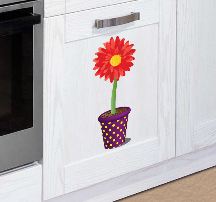 TenStickers. Potted Sunflower Kitchen Sticker. A colourful and vibrant flower wall sticker to brighten up any room. Ideal for decorating spaces in the kitchen or garden. Add a touch of summer to your home decor with this lovely red, yellow and green flower decal.