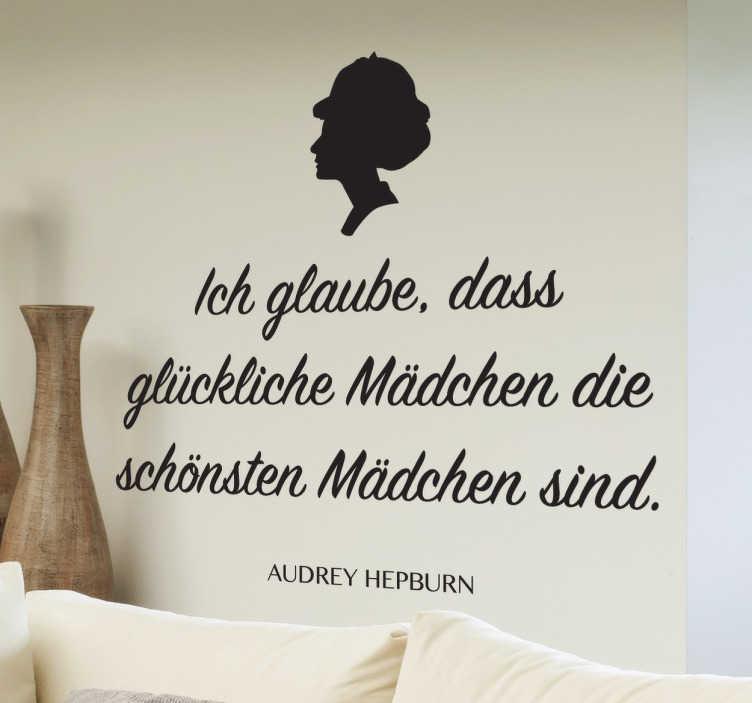TenStickers. Audrey Hepburn Sticker. Dieses Wandtattoo des Zitats von Audrey Hepburn ist einfach eine dekorative Idee, die inspirierend auf jeden wirkt. Online-Kauf + Garantie