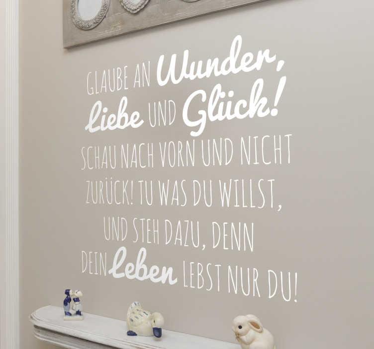 TenStickers. Glaube an Wunder Aufkleber. Dekorativer Text Sticker über das Leben! Motivationsspruch für jeden Tag. Passt in jedes Wohnzimmer, Schlafzimmer und weitere Räume.