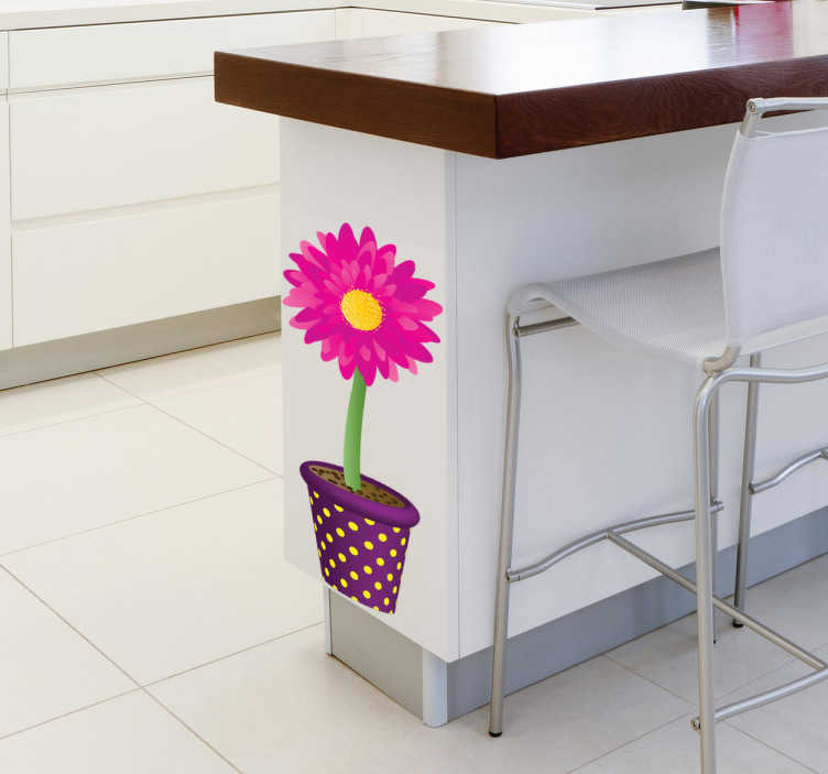 TenStickers. Potted Flower Sticker. Flower Stickers - A colourful and vibrant floral design to brighten up any room.Ideal for decorating spaces like the kitchen.