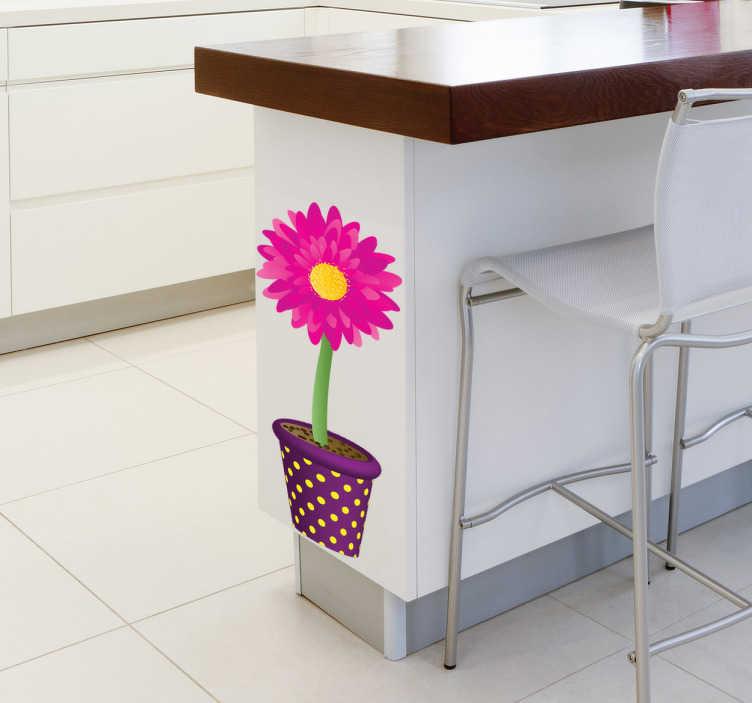TenVinilo. Vinilo girasol color rosa. Adhesivo decorativo floral de un diseño con gran colorido por una maceta de color purpura con una flor abierta de tonos rosados y amarillo.