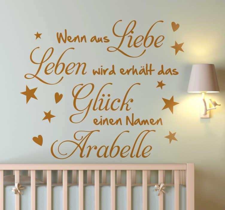 TenStickers. Liebe, Leben, Glück Sticker. Sprüche fürs Baby  fürs Baby und Kinderzimmer. Personalisieren Sie das Kinderzimmer schnell und einfach mit diesem süßen Sticker voller Liebe.