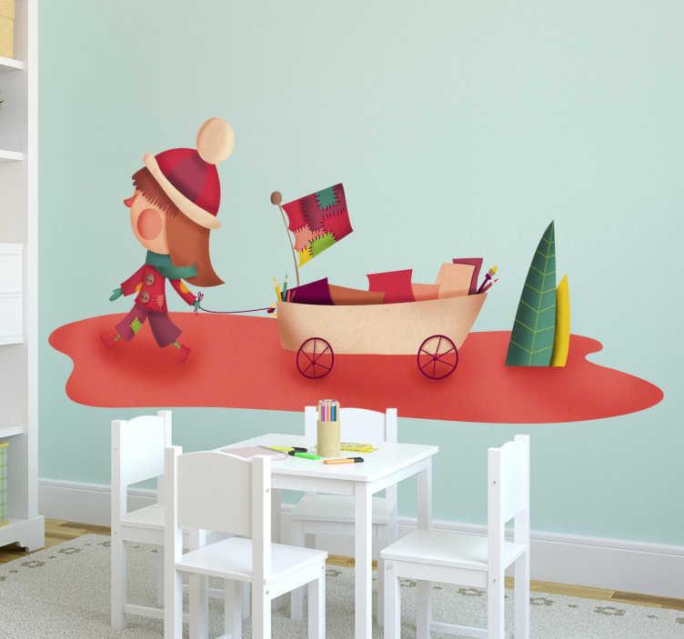 TenStickers. Kinderen meisje met wagentje sticker. Exclusief design van Tenstickers van een klein meisje in winterkleding dat een karretje achter haar aantrekt! Leuke en kleurrijke tekening!