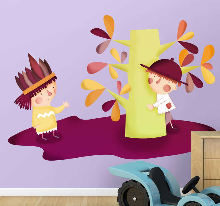 TenStickers. Kinder Sticker Baum und Figuren. Kinder Sticker - Dekorationsidee für das Kinderzimmer. Süßer und herbstlicher Sticker, bringt Farbe in das Zimmer.