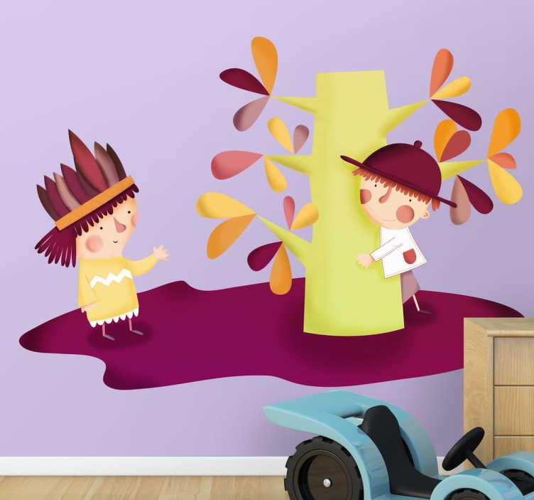 TenStickers. Kinder Sticker Baum und Figuren. Kinder Sticker - Dekorationsidee für das Kinderzimmer. Süßer und herbstlicher Sticker, bringt Farbe in das Zimmer.